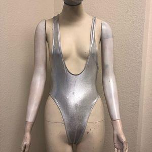 American Apparel Swim - American apparel silver suspender swimsuit 3c924d09c